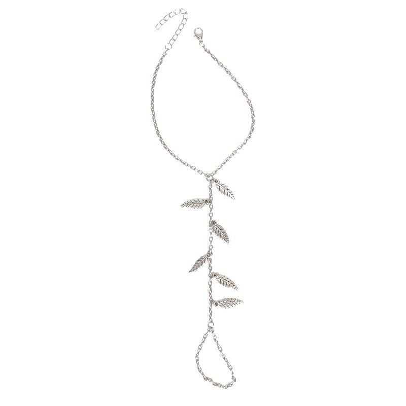 Leaves Pendant Toe Ring AnkletJEWELRY<br><br>Color: SILVER; Gender: For Women; Metal Type: Alloy; Style: Trendy; Shape/Pattern: Plant; Weight: 0.030kg; Package Contents: 1 x Anklet;