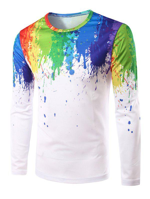 Mens Button Up Casual Shirts Long Sleeve Colorful Splatter Paint Printed Tops