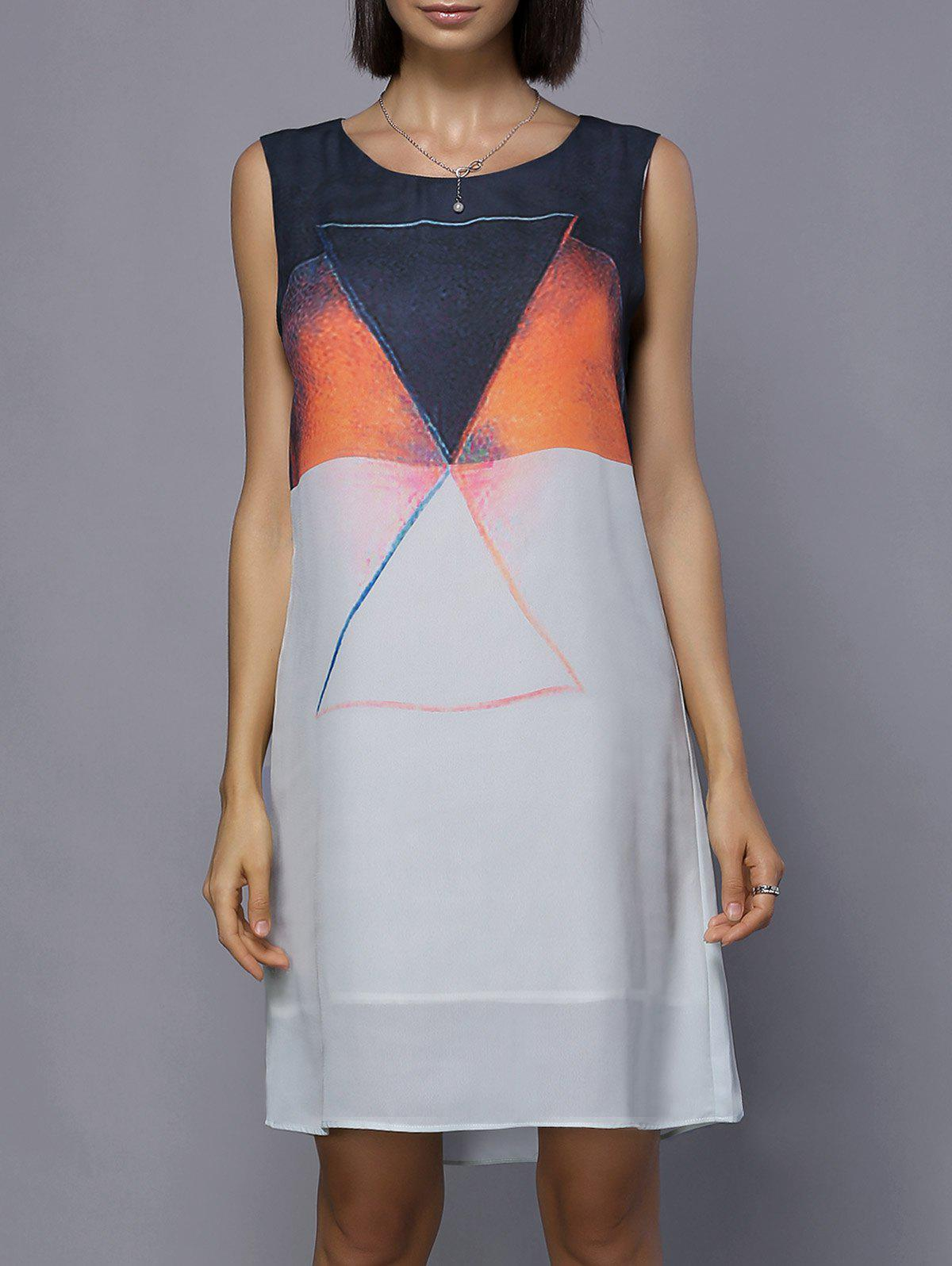 New Fashionable Scoop Neck Sleeveless Color Block Dress For Women