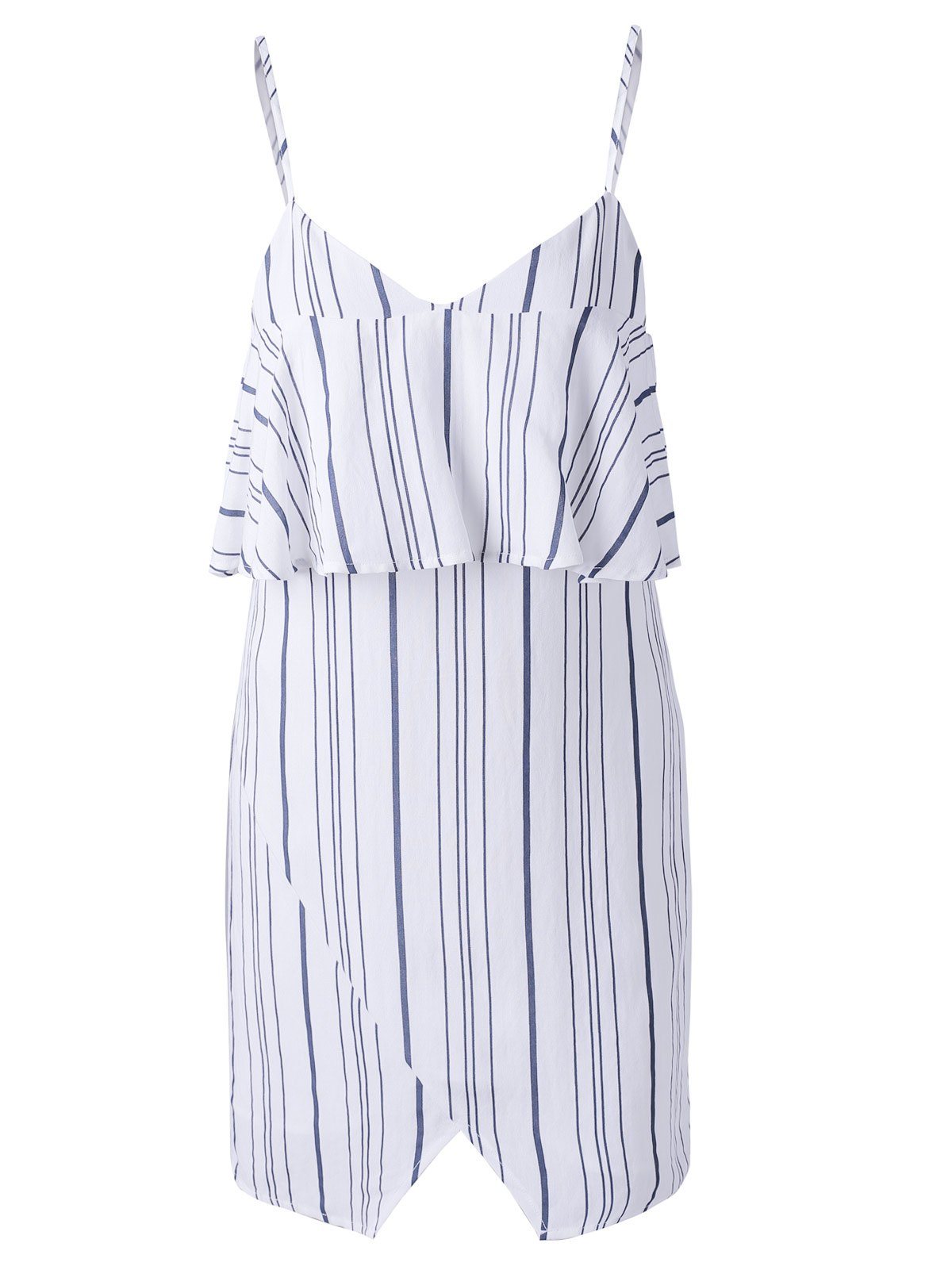 Latest Chic Spaghetti Strap Stripe Spliced Flounce Women's Dress