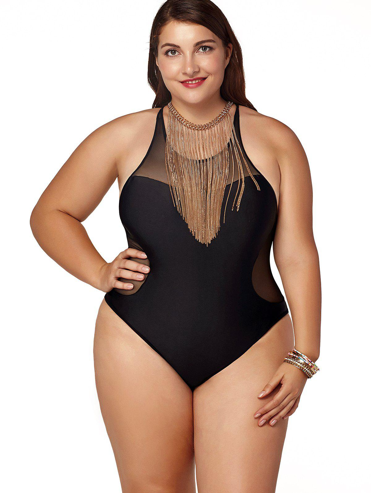 Latest Stylish Plus Size Jewel Neck Zippered One-Piece Swimsuit For Women