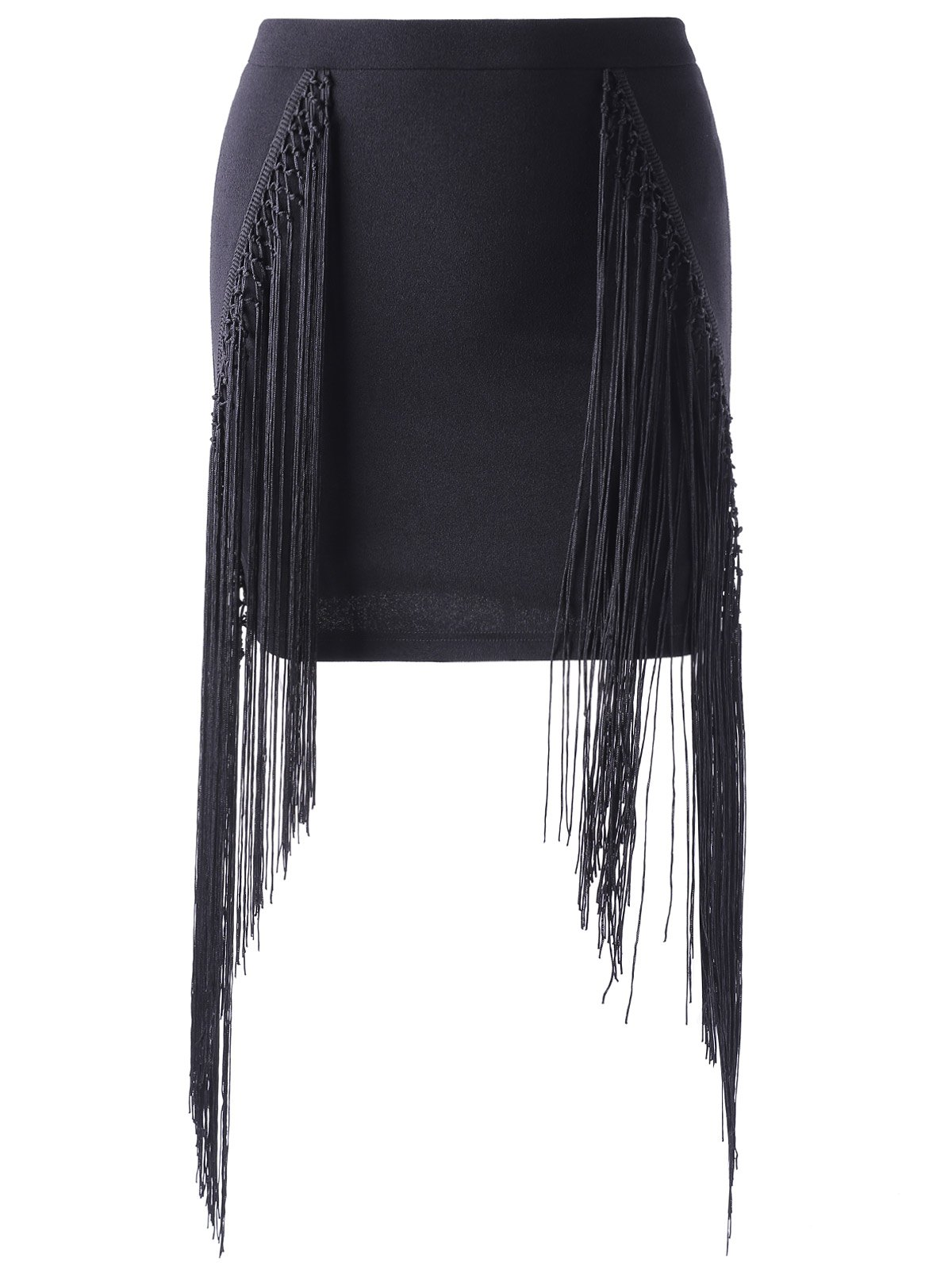 Hot Fashionable Tassels Black Short Skirt For Women