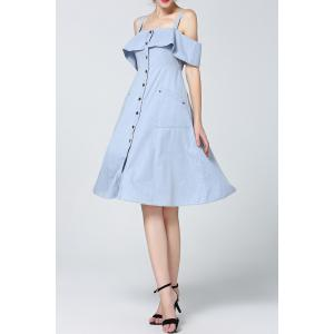 Cold Shoulder Flounced Denim Dress -