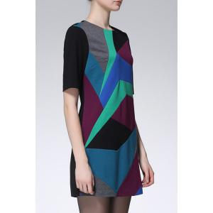 Color Blcok Zip Mini Dress -
