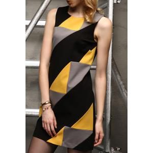 Sleeveless Color Blcok Mini Dress -