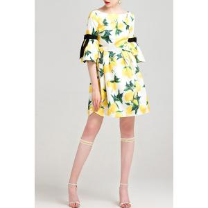 Bowknot Embellished Lemon Print Dress -