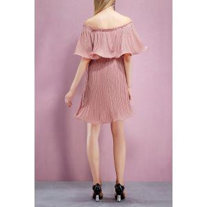 Off The Shoulder Flounce Pleated Dress -