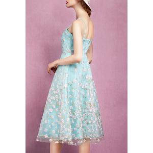 Spaghetti Strap Flower Embroidery Mesh Dress -