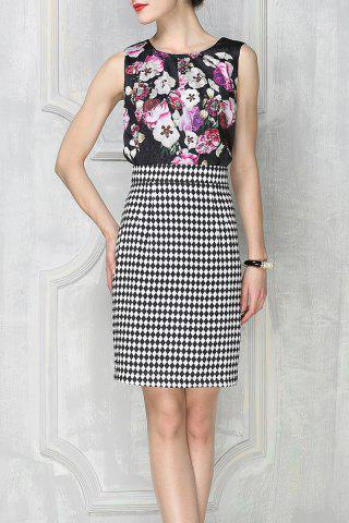 New Print Tank Top and Houndstooth Skirt Twinset