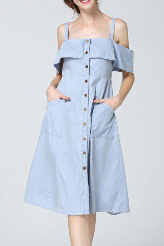 New Cold Shoulder Flounced Denim Dress