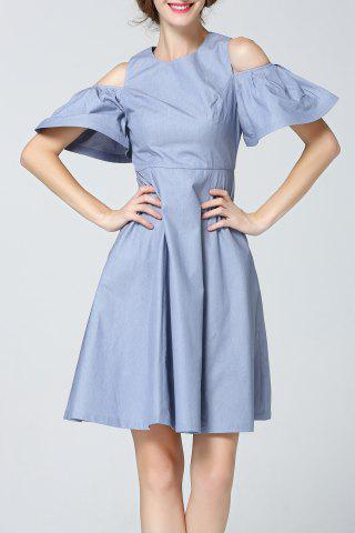 Fashion Bell Sleeve Cold Shoulder Denim Dress