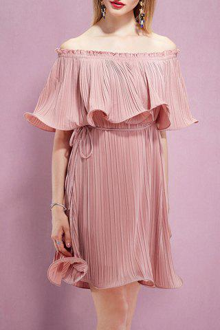 Unique Off The Shoulder Flounce Pleated Dress