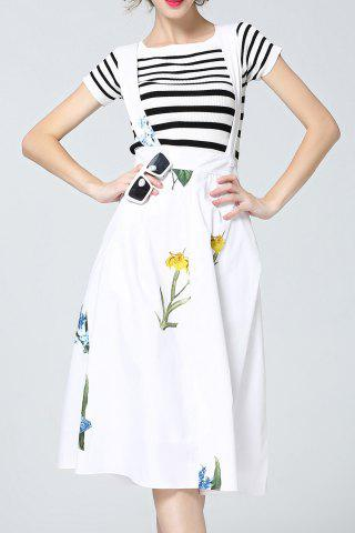 Trendy Flower Print Criss Suspender Dress