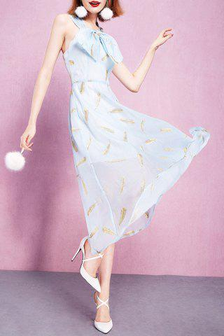 Trendy Bowknot Embellished Feather Embroidery Dress