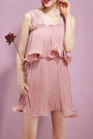 New Solid Color Flounce Pleated Dress