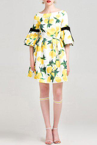 Chic Bowknot Embellished Lemon Print Dress