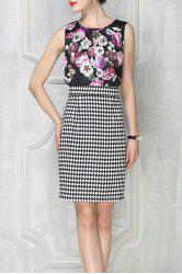 Print Tank Top and Houndstooth Skirt Twinset -