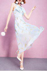 Bowknot Embellished Feather Embroidery Dress -