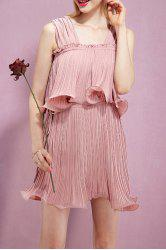 Solid Color Flounce Pleated Dress -
