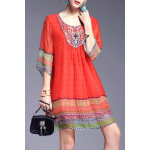 Ethnic Style Printed Beading Dress - Red - M
