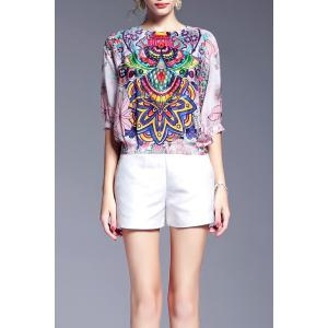 Loose Printed Silk T-Shirt