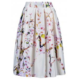 Stylish Tiny Flower Print A Line Skirt For Women - Off-white - One Size(fit Size Xs To M)