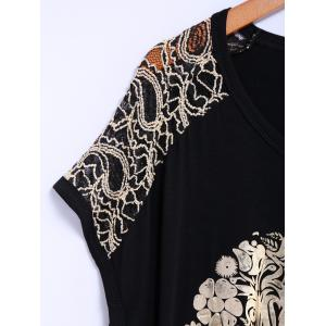 Street Style Lace Scoop Neck Loose-Fitting Short Batwing Sleeve Splicing Skull Pattern Women's T-Shirt - BLACK ONE SIZE