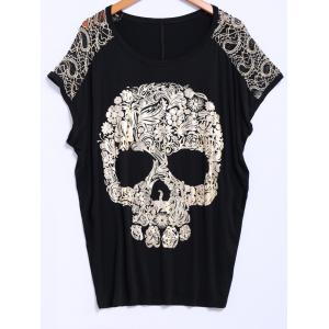 Street Style Lace Scoop Neck Loose-Fitting Short Batwing Sleeve Splicing Skull Pattern Women's T-Shirt