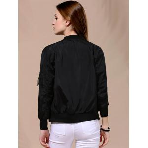 Stylish Stand Collar Solid Color Long Sleeve Bomber Jacket -