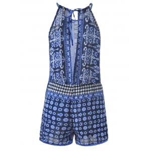 Bohemian Lace-Up Backless Abstract Printing Drawstring Romper For Women -