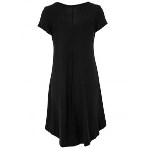 V-Neck Ruffled Casual Tunic Dress With Sleeves -