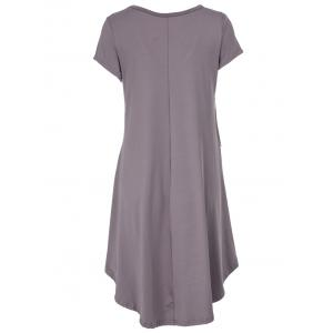 V-Neck Ruffled Casual Tunic Dress With Sleeves - COFFEE 2XL