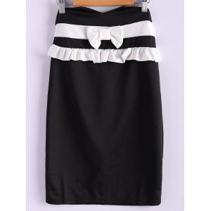 Contrast Bowknot Midi Pencil Skirt - Black - S