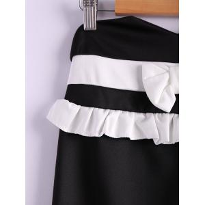 Contrast Bowknot Midi Pencil Skirt - BLACK S
