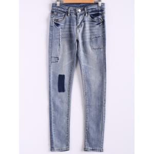 Bleach Wash Pockets Slimming Pencil Jeans