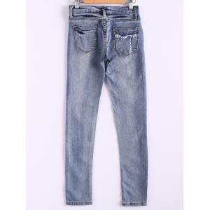 Bleach Wash Pockets Slimming Pencil Jeans -