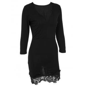 Chic Plunging Neck Long Sleeve Floral Hem Dress For Women -