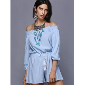 Stylish Off The Shoulder Long Sleeves Drawstring Romper For Women -