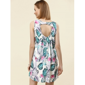Stylish V-Neck Sleeveless Print Cut Out Dress For Women -