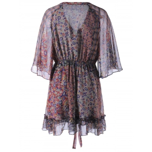 Fashionable Chiffon Printing V-Neck Dress For Women - COLORMIX S