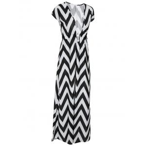 Alluring Plunging Neck Short Sleeve Zig Zag Dress For Women -