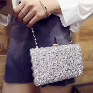 Stylish Rhinestone and Checked Design Evening Bag For Women -