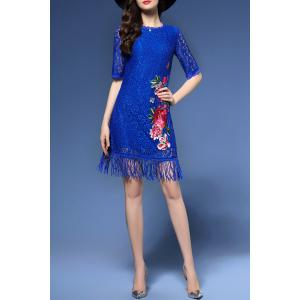 Half Sleeve Floral Embroidered Lace Dress -