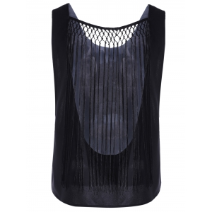 Chic Hollow Out Tassel Top For Women - BLACK S
