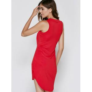 Bodycon Sleeveless Round Neck Asymmetric Women's Dress -