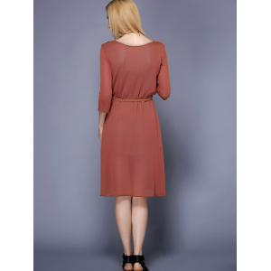 Trendy Round Collar 3/4 Sleeve Furcal Solid Color Women's Dress -
