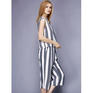 Brief V-Neck Striped Tank Top+Wide Leg Pants Twinset For Women -