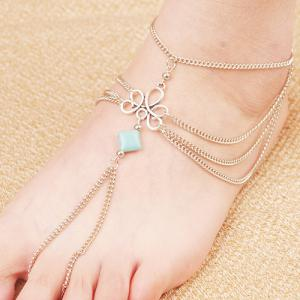 Retro Fake Turquoise Multilayered Toe Ring Anklet - Silver - 9