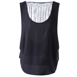 Chic Hollow Out Tassel Top For Women - Black - M
