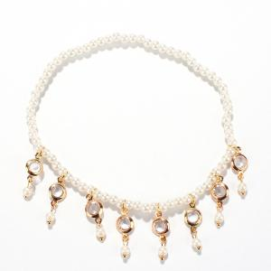 Faux Pearl Hollow Out Round Alloy Tassel Beaded Anklets